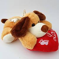 Мягкая игрушка Собачка 06593 30 см, с сердцем, звук-гав-гав