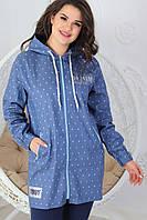 Женская ветровая курточка из джинса на молнии с капюшоном 50-56