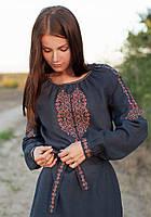Женское вышитое платье с поясом (размеры S-2XL)
