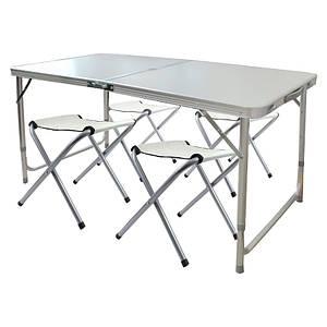 Складной столик чемодан для пикника, кемпинга 120 на 60 см с 4-мя стульями светлый Folding Table 149552