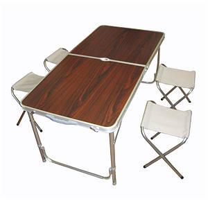 Складной столик чемодан для пикника, кемпинга 120 на 60 см с 4-мя стульями тёмный Folding Table 130642