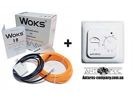 Теплый пол Woks-18 двухжильный кабель 220 Вт (12 м) 1 м² - 1.5 м²   + механический терморегулятор RTC 70.26