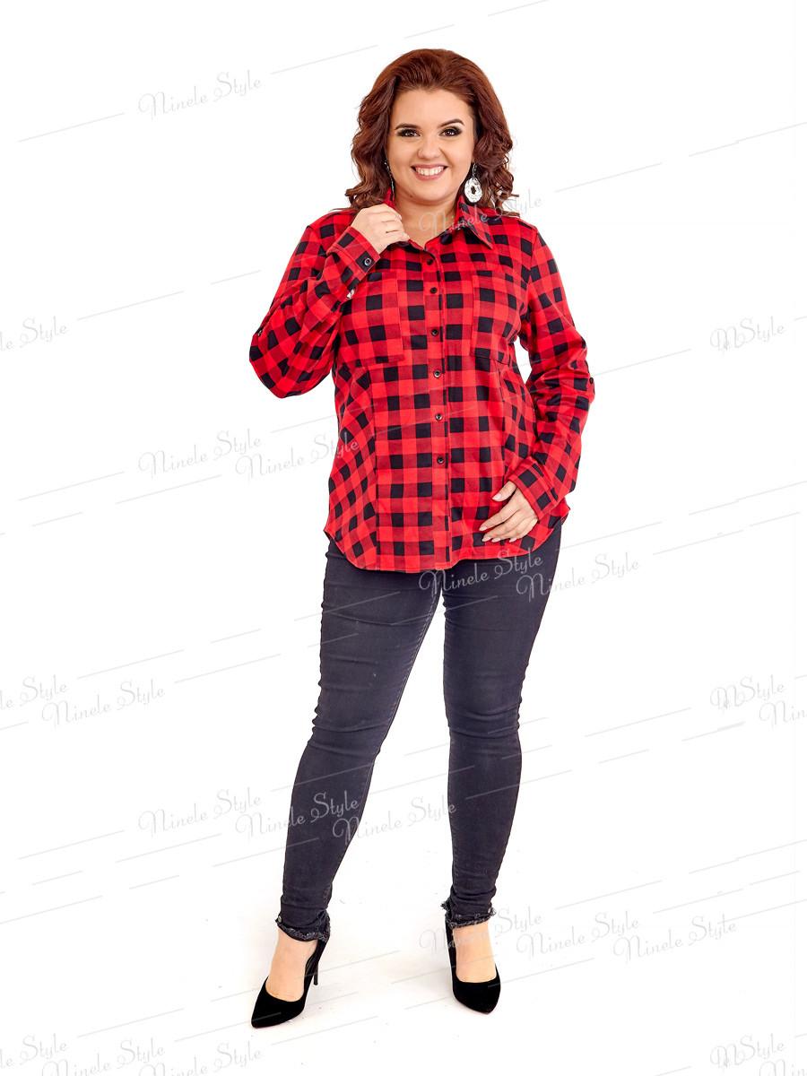 Теплая женская блузка в клетку 418 54