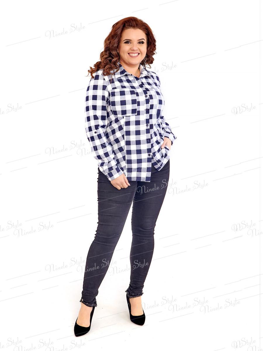 Теплая женская блузка в клетку 418-1 52