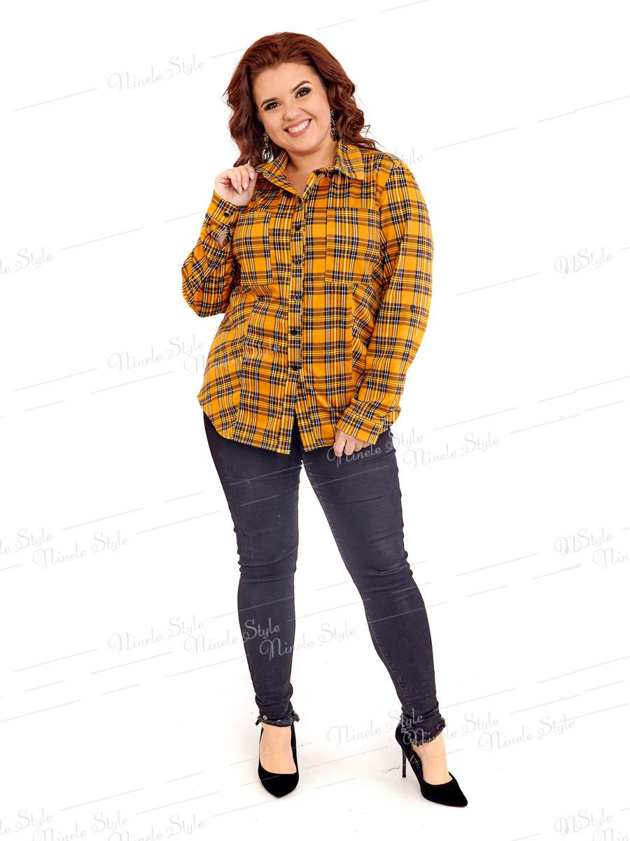 Теплая женская блузка в клетку 418-3 52