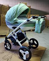 Детская коляска 2-в-1 Lumi (Люми эко-кожа) на пластиковой корзине d32 -мятная