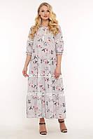 Ажурное Макси платье в цветочек летнее женское платье большого размера с кружевом, размер 52-58