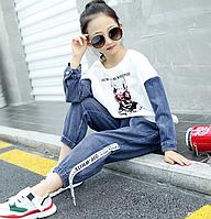 Бомбезний стильний костюм для дівчинки / Летний детский спортивный костюм для девочек детская одежда лоскутный