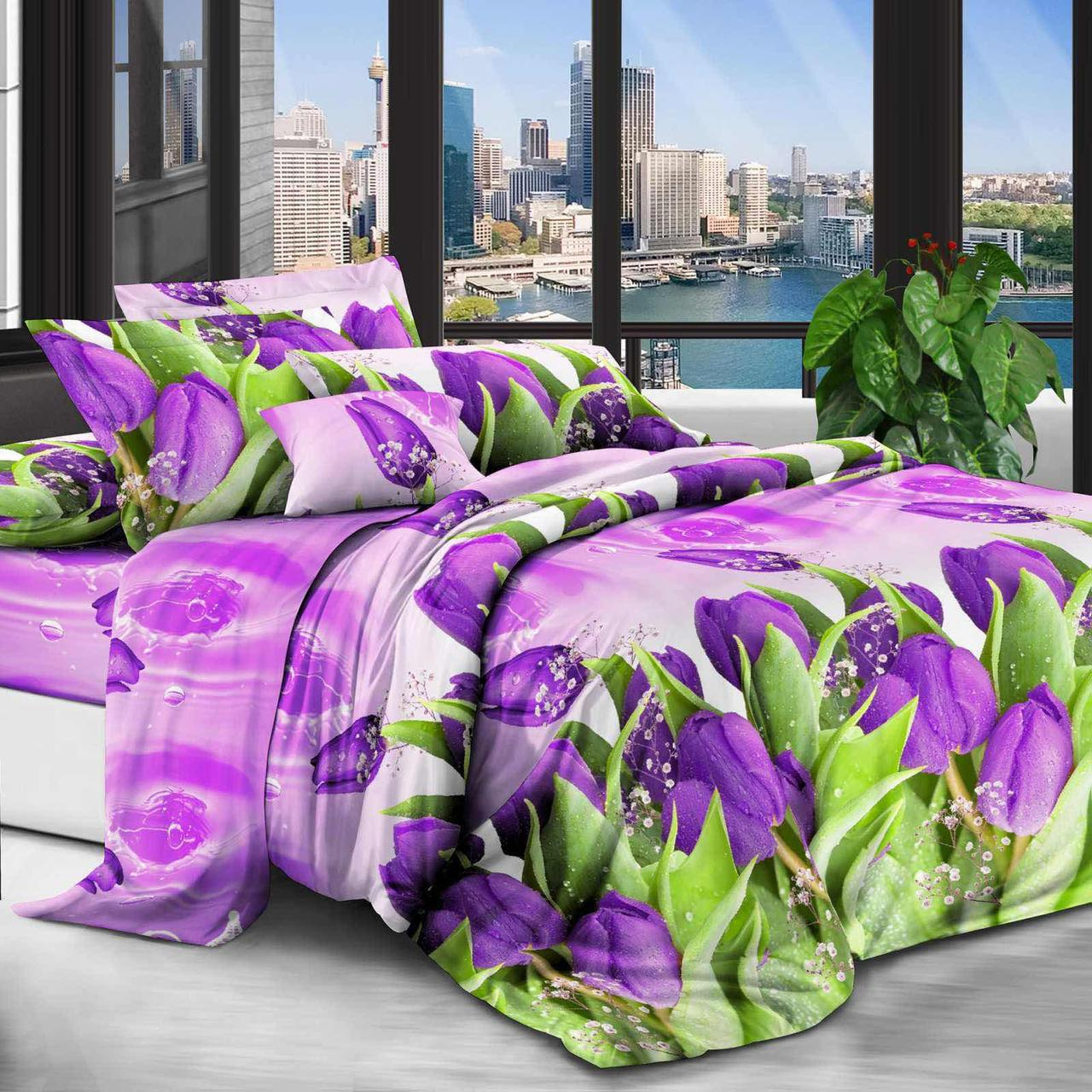 Двуспальный комплект постельного белья евро 200*220 хлопок  (14072) TM KRISPOL Украина