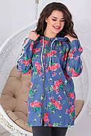 Женская ветровая курточка из джинса на молнии с капюшоном размеры 48-56 цветочный принт