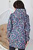 Женская ветровая курточка из джинса на молнии с капюшоном размеры 48-56 цветочный принт, фото 5