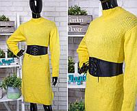 """Стильное женское вязаное платье ткань """"Мягкая шерстяная нить"""" 54 размер батал"""