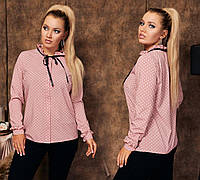 Женская блуза на пуговицах с рукавом розовая