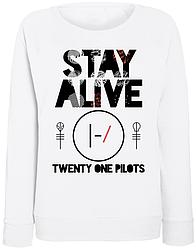 Женский свитшот Twenty One Pilots - Stay Alive (белый)