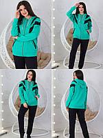 Женский батальный спортивный костюм двунитка черный+ кофта зеленая