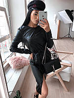 Платье кожаное черное 42373