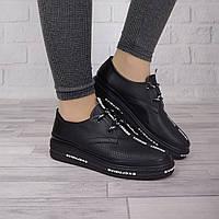 Стильные женские туфли шнурок Guero перфорация черного цвета 912
