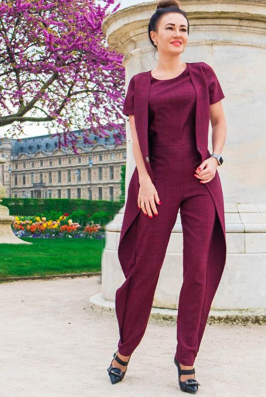Модні комбінезони Вандлер бордового кольору