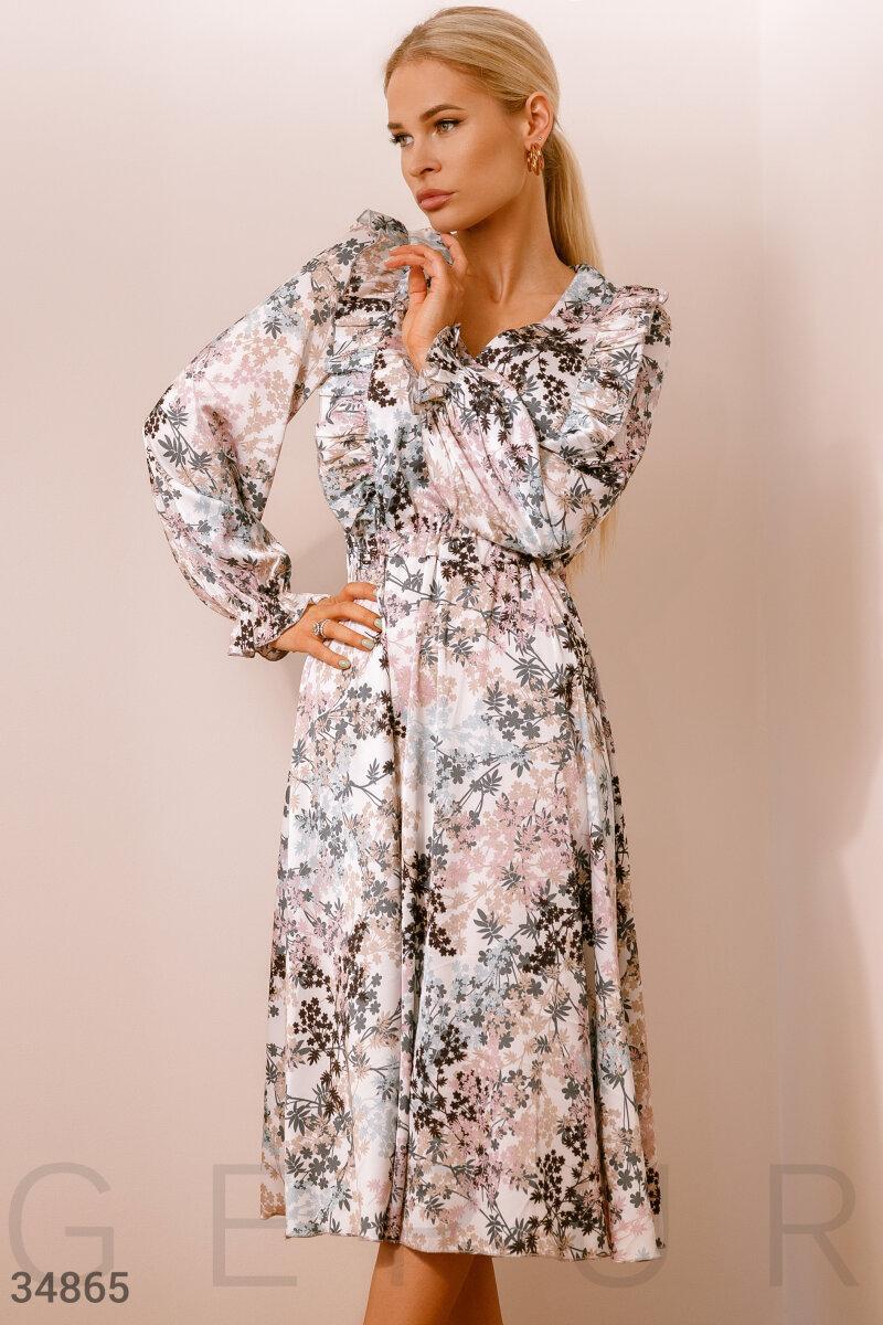 Расклешенное летнее платье-миди из легкой шелковой ткани