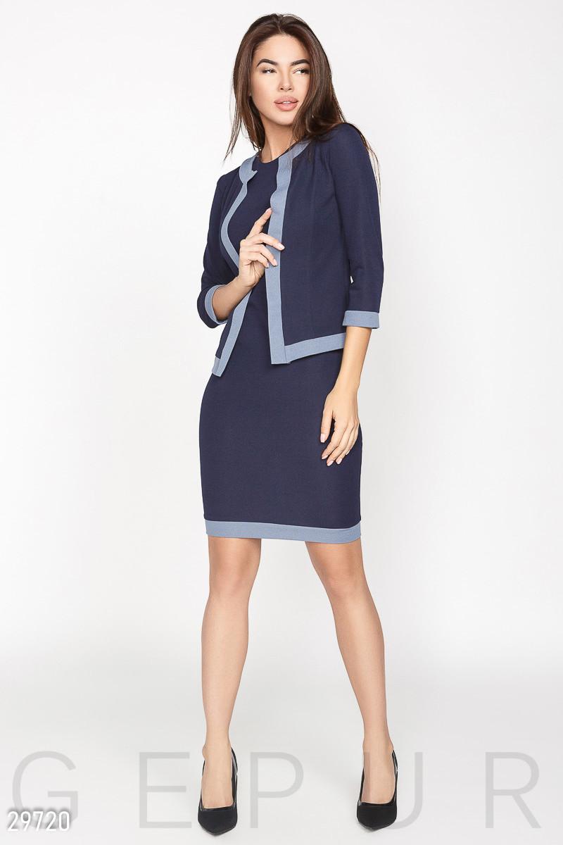 Женский костюм в стиле casual платье-футляр и  жакет без воротника темно-синий