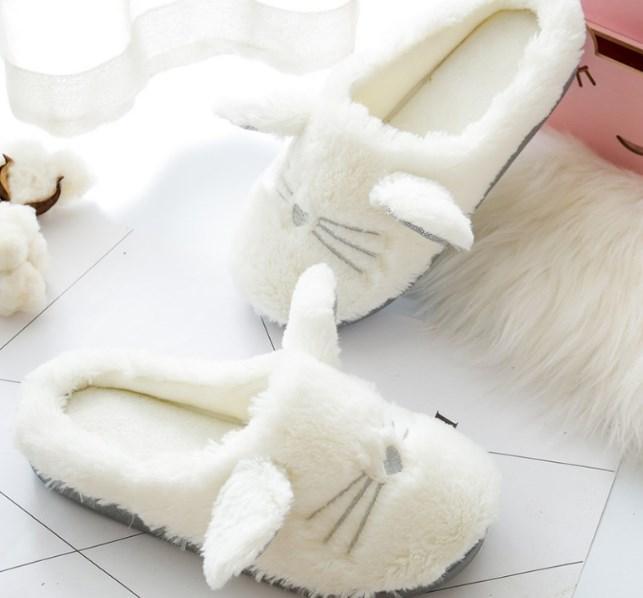 Тапочки мягкие белые  Котики
