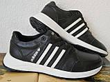 Кроссовки женские кожаные чёрные с тремя белыми полосками adidas для прогулок и спорта батал, фото 2