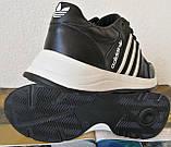 Кроссовки женские кожаные чёрные с тремя белыми полосками adidas для прогулок и спорта батал, фото 5