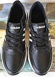 Кроссовки женские кожаные чёрные с тремя белыми полосками adidas для прогулок и спорта батал, фото 9