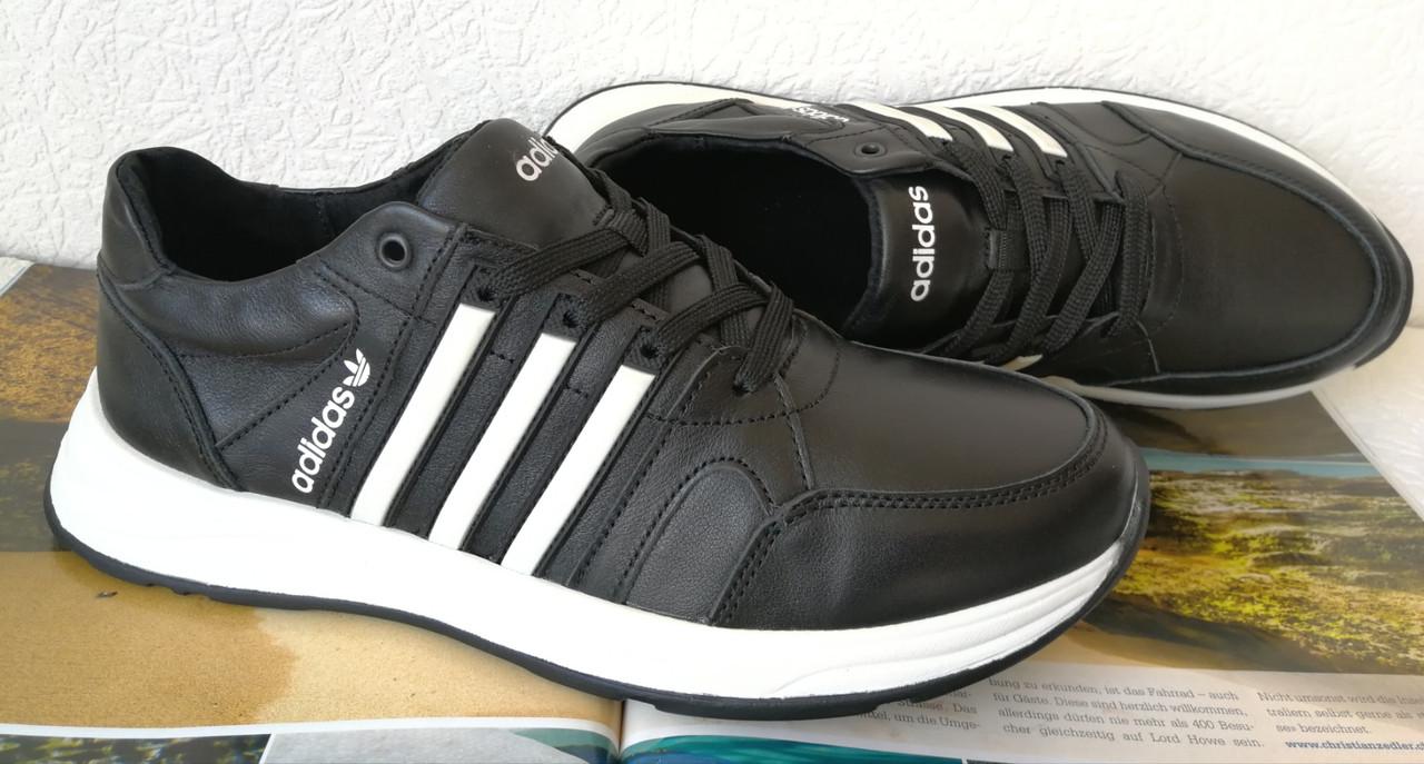 Кроссовки женские кожаные чёрные с тремя белыми полосками adidas для прогулок и спорта батал