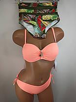 Купальник бандо с высокой талией и плавками на завязках Sisianna 91009 персиковый 42 44 46 48 50 размер, фото 2