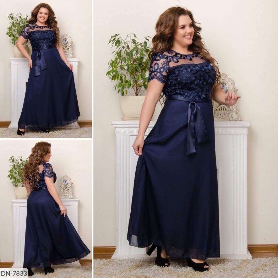 Вечірня сукня в пол з шифону та розшитої сітки