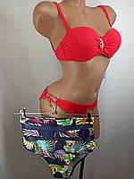 Купальник бандо с высокой талией и плавками на завязках Sisianna 91009 красный 42 46 размер