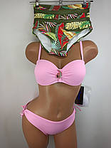 Купальник бандо с высокой талией и плавками на завязках Sisianna 91009 розовый 42 44 46 48 50 размер, фото 2