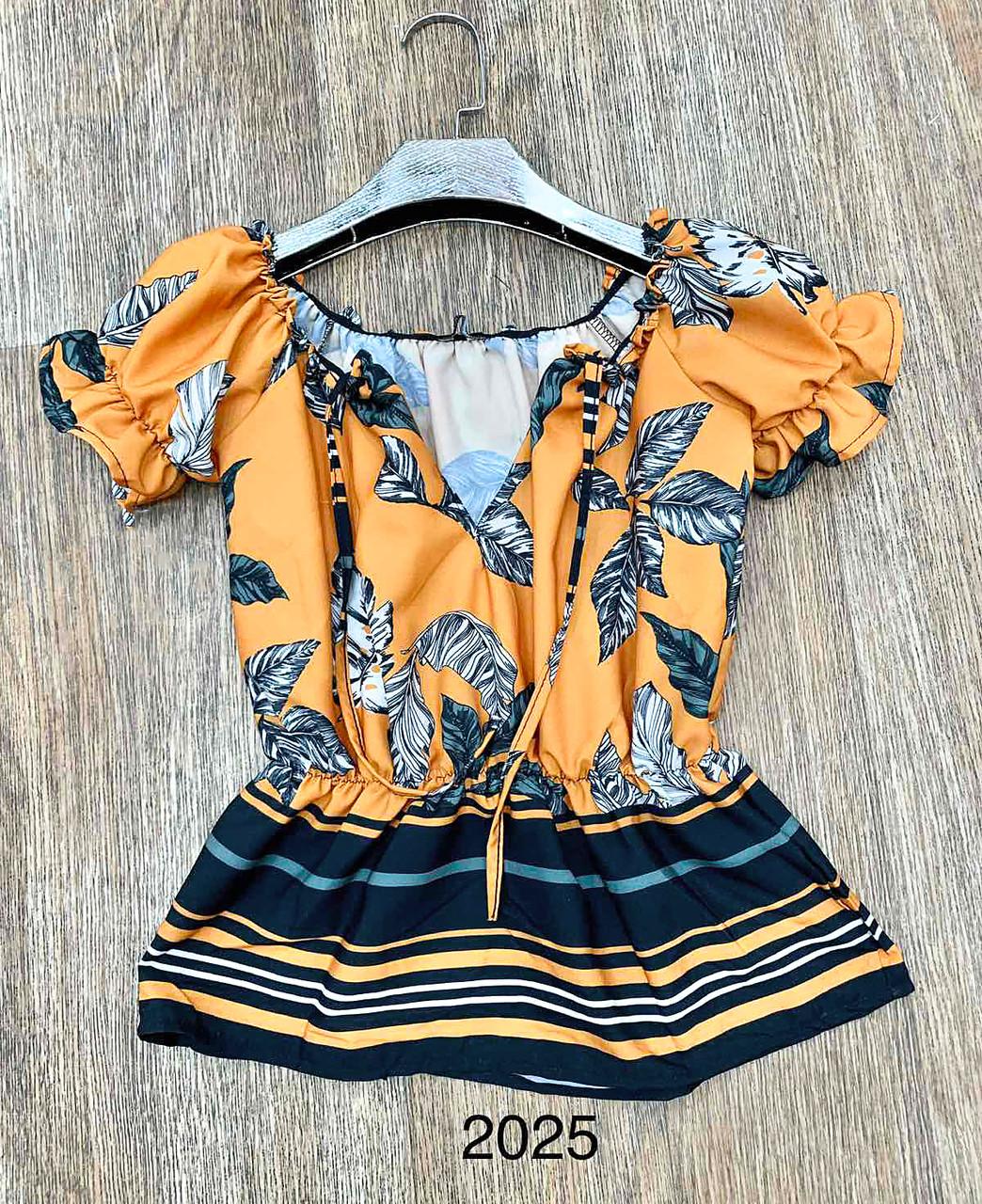 Яскрава жіноча блуза з коротким рукавом (42-48)
