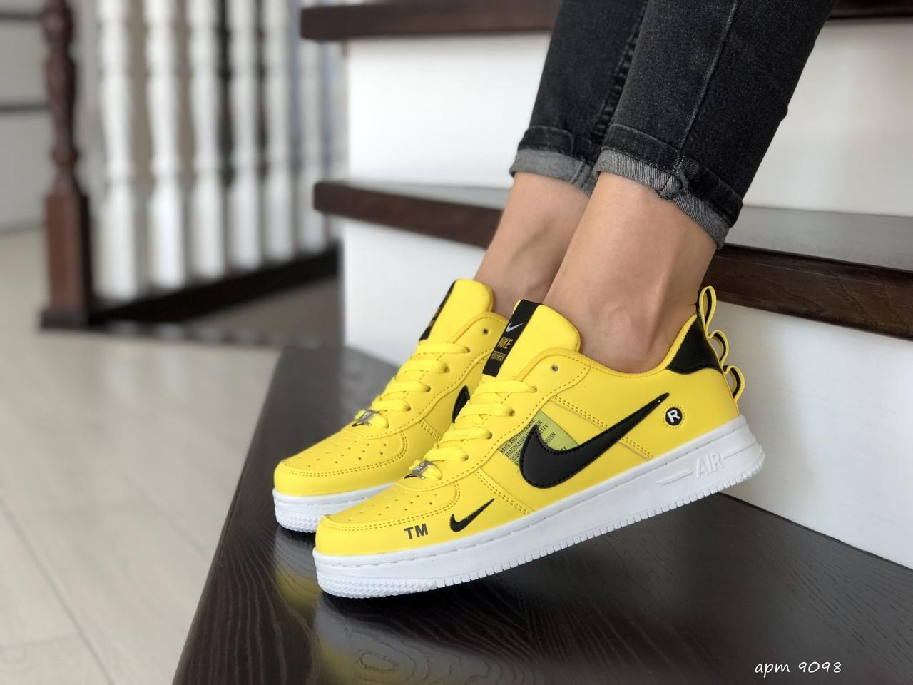 Подростковые (женские) кроссовки Nike Air Force,желтые