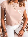 Женская футболка бежевая коралловая, фото 2