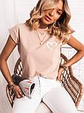 Женская футболка бежевая коралловая, фото 4