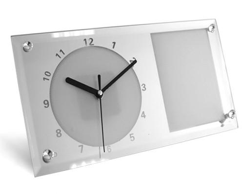 Часы стеклянные для сублимации настольные прямоугольные ЗЕРКАЛО (30х16 см)