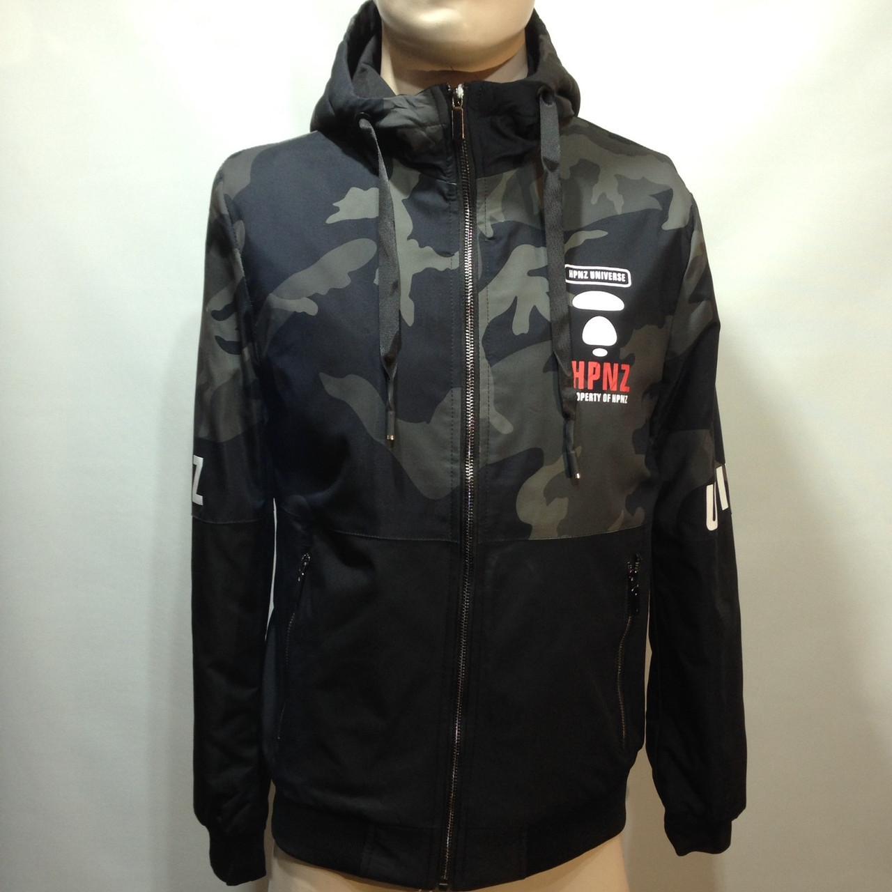 Куртка молодежная на тонком синтепоне серая с черным / демисезонная курточка