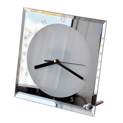 Часы стеклянные для сублимации настольные квадратные (20х20 см) зеркало