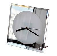 Часы стеклянные 20х20 зеркало для сублимации настольные квадратные