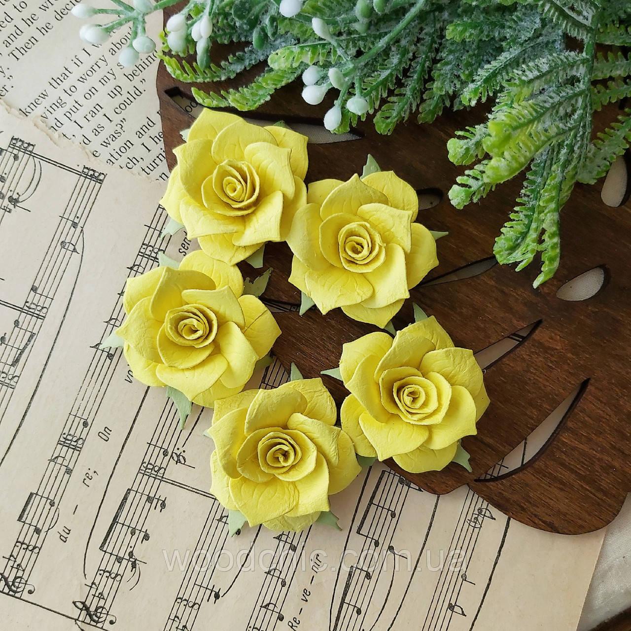 Набор Бумажные розы жёлтые 5