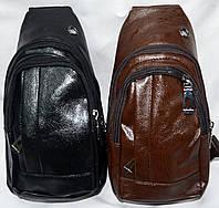 Мужские барсетки через плечо из искусственной кожи на 2 отдела на молнии 14*27 см (черная и коричневая)