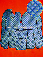 Коврики в салон экокожа на SCANIA R-серия 2009- МКП синие.