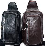 Мужские барсетки через плечо из искусственной кожи на 2 отдела на молнии 11*20 см (черная и каштан)