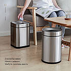 Ведро для мусора JAH 15 л серебряный металлик без крышки с внутренним ведром, фото 7