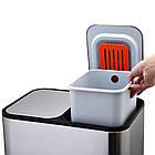 Ведро для сортировки мусора JAH 24 л прямоугольное с педалью и внутренним ведром серебряный металлик, фото 9