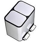 Ведро для сортировки мусора JAH 24 л прямоугольное с педалью и внутренним ведром серебряный металлик, фото 10