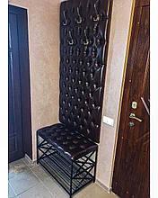 Комплект для прихожей, Банкетка  и Вешалка 80 см, Каретная стяжка