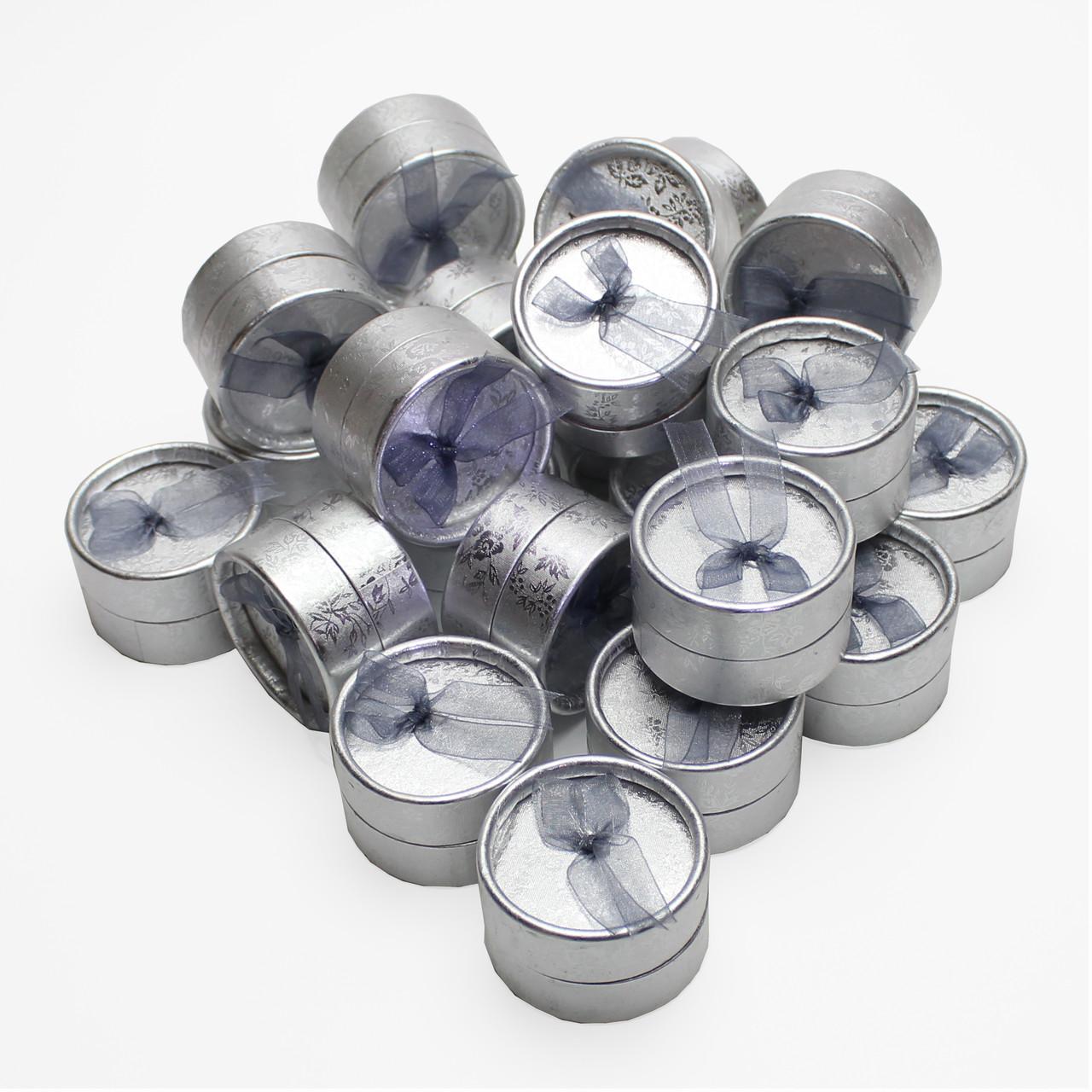 Коробочка подарочная для украшений серебристая круг 5/5/3,5 см 30 шт./упак.